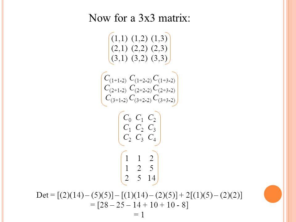 Det = [(2)(14) – (5)(5)] – [(1)(14) – (2)(5)] + 2[(1)(5) – (2)(2)]